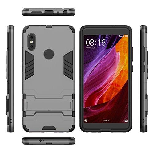 Xiaomi Mi 6X Funda,Xiaomi Mi 6X Fundas,Regalo:2.5D Vidrio Templado Protector Pantalla para Xiaomi Mi 6X,Xinyunew silicona TPU + plastico Anti Arañazos de Protectora para Xiaomi Mi 6X Rojo Gris