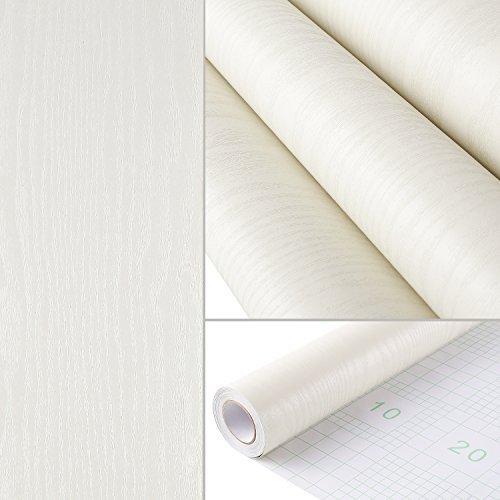HOMFA Wallpaper 44.1 square feet, Self-adhesive Easy to Peel and Stick, Modern Fashion Print Embossed Stripe for Livingroom, Bedroom, Home Wall Decor, Off White 16.1'' x 32.8 feet