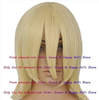 NEW fashion HOT sexy Platinum Blonde Straight Anime cosplay wigs party Masquerade girls 30CM