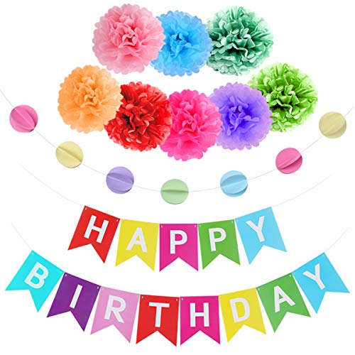 Junucubo Happy Birthday Decorations Party Supplies Colorful Birthday Decorations Happy Birthday Banner Rainbow Colors Paper Tissue Pom Poms Flowers Colorful Hanging Circle Birthday Party Celebrated Supplies Kids Party Decoration