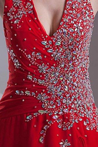 GEORGE mit Split Rot Chiffon BRIDE Vorderabendkleid Perlen Halfter 6Irx4gwq6