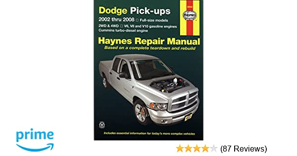 Dodge pick ups 2002 thru 2008 haynes repair manual max haynes dodge pick ups 2002 thru 2008 haynes repair manual max haynes 9781563927423 amazon books fandeluxe Image collections