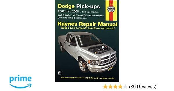 dodge pick ups 2002 thru 2008 haynes repair manual max haynes rh amazon com 2011 dodge ram 1500 repair manual 2011 dodge ram 1500 service manual pdf