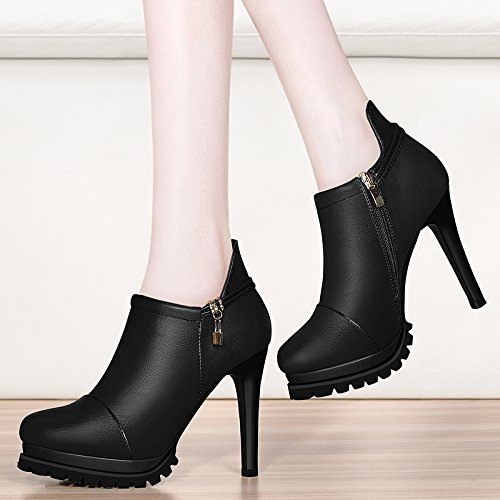 AJUNR-Damen Neue Mode cm Schuhe Schwarz 10 cm Mode Fein mit einzelnen Schuhe Die neue Mode Frau Schuhe Damen schwarz Wasserdicht einzelne Frauen Schuhe  38 1689da
