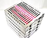 5 GERMAN DENTAL AUTOCLAVE STERILIZATION CASSETTE TRAY FOR 15 INSTRUMENTS 8.25X7.25X1.25'' PINK ( CYNAMED )