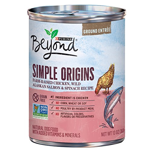 Purina Beyond Simple Origins Grain Free Farm-Raised Chicken, Wild Alaskan Salmon & Spinach Recipe Ground Entree Adult Wet Dog Food - Twelve (12) 13 oz. Cans