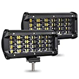 AMBOTHER Light Bar 7 Inch 240w 24,000lm LED Off Road Lights Pods Spot Beam Fog Driving Work Light for Truck 4x4 ATV ATV SUV Boat Jeep Tractor etc. Quad Row, 2 Year Warranty, 2 Pack