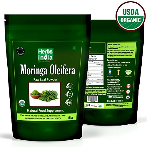 Organic Moringa Powder 1 Pound(16 Ounces), USDA Organic - HerbsIndia