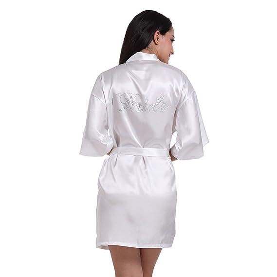 Blesiya Damen Bride Kimono Morgenmantel Hausmantel Nachtwäsche ...