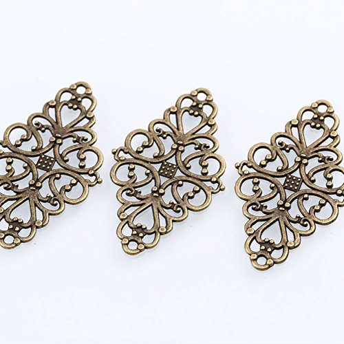 AKOAK 40 Pcs/Pack Antique Bronze Hollow Filigree Flower Charms Jewelry Connectors Vintage Metal Zinc Alloy Trendy Filigree Charms for DIY Jewelry -