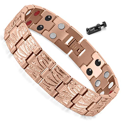 Hematite Plated - Extra Germanium Strength Magnetic&Negative-ions Therapy Copper Plated 316L Stainless Steel Bracelets for Men Health Stress Relief Wristband [Free Links Removal Tool]