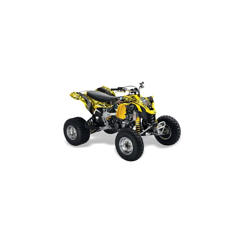 AMR Racing 2008   2011 Can Am DS450 EFI ATV Quad Graphic Kit   Madhatter   Yellow, Black