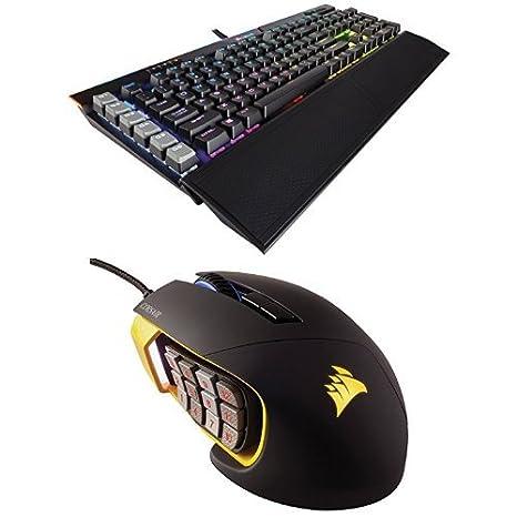 Corsair Gaming K95 RGB PLATINUM Mechanical Keyboard, Cherry MX Speed, Black  (CH-9127014-NA) and Corsair Gaming SCIMITAR Pro RGB Gaming Mouse, Backlit