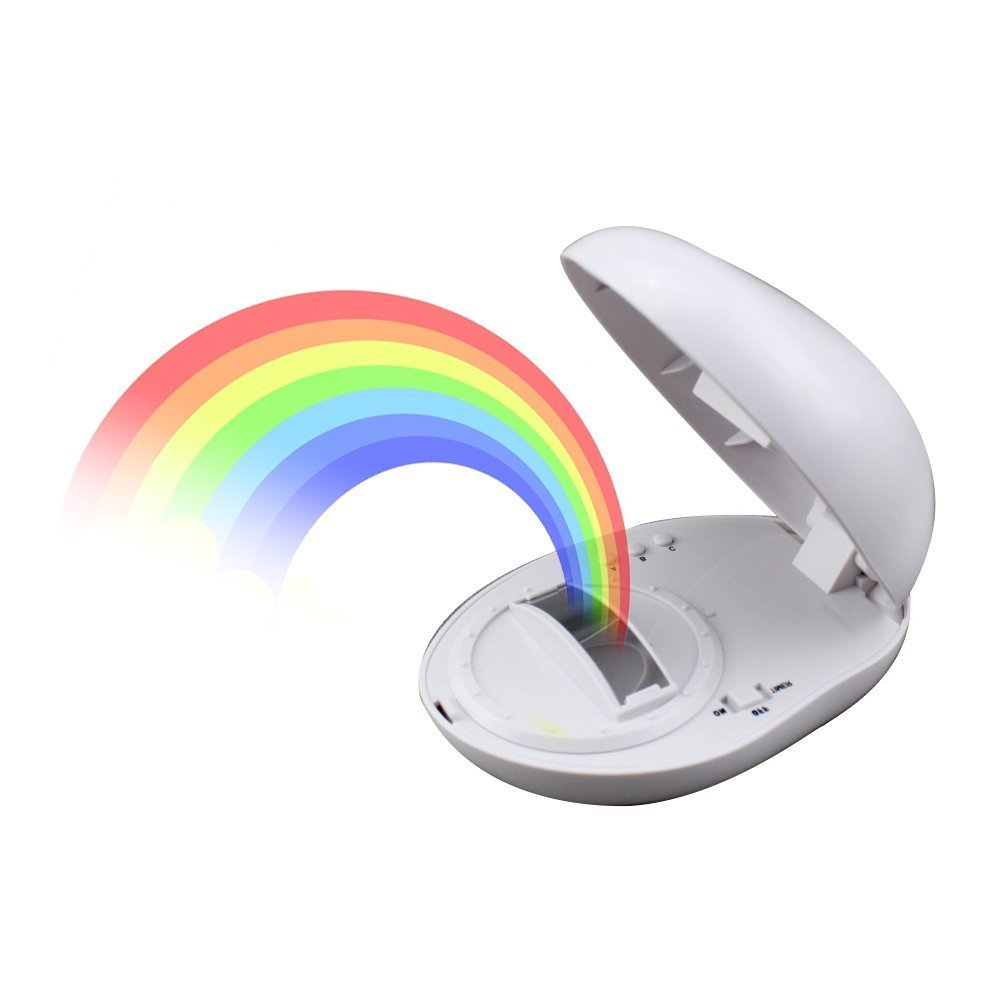 Rainbow Projector Night Light, Umiwe Multicolor Led Sleep Lamp Romantic Gift Room Tabletop Decoration for Children and Lovers