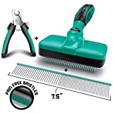 "Ruff 'n Ruffus Self-Cleaning Slicker Brush + 2 Free Bonuses | 7.5"" Steel Comb + Pet Nail Clippers 