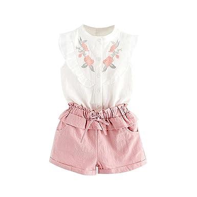 b18515e61ebe1 Amlaiworld ❤️Ensembles de Bébé Filles Bébé Fille Vêtements de Tenue  Broderie T-Shirt Tops + Shorts Pantalons Set pour Enfant Fille 2-7 Ans:  Amazon.fr: ...
