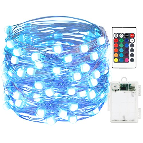 AMIR LED String Lights, 50 LED/16.4ft With Battery Operated Remote Control super brighter Lights, Waterproof IP65, 16 Colors Decorative Lights for Outdoor Parties Christmas (Low voltage, Non plug in)