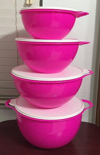 (Tupperware Thatsa Bowl 4 Piece Set in Electric Hot Pink with Snow White Seals)