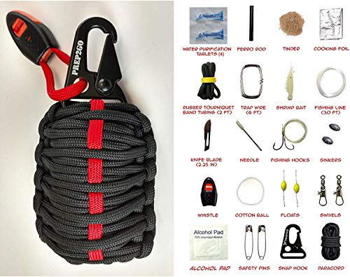 Paracord Survival Grenade (30pc) Kit with Water Purification Tabs--Military Grade Wilderness Preppers Gear For Camping Hiking Hunting--Moms Feel Safe! Your Kids Can Get Food Fire And Shelter When Lost (Sell The House Sell The Car Apocalypse Now)
