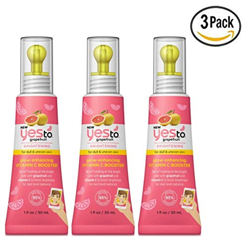 Yes To Grapefruit Brightening Glow Enhancing Vitamin C Booster 1 Fl Oz (Pack Of 3)
