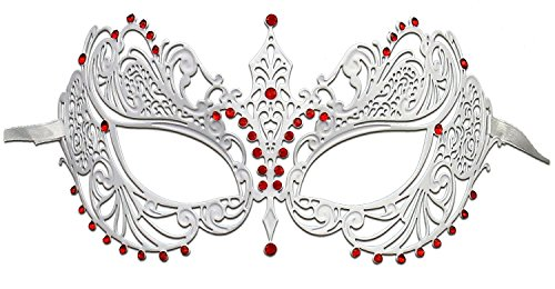 Hagora, Women's Elegant Laser Cut Metal With Stones Venetian Masquerade Mask,White/red Stones One Size -