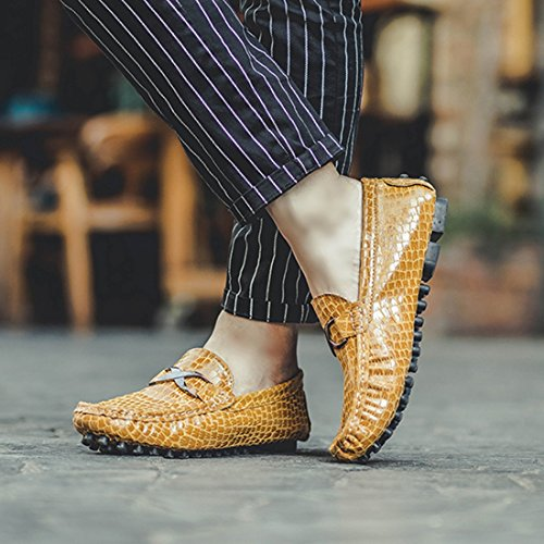 On Driving Cotton Loafers Moccasins Penny Shoes Plus Casual Men's Comfort yellow TDA Slip Synthetic qf4tWU