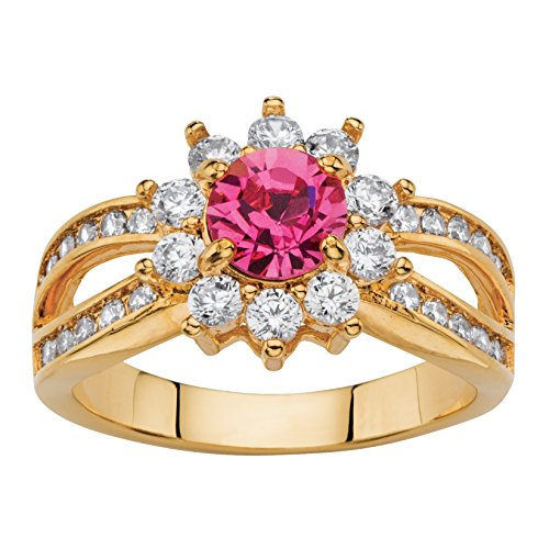 - Palm Beach Jewelry Round Rose Simulated Crystal CZ 14k Gold-Plated Halo Cocktail Ring Size 10