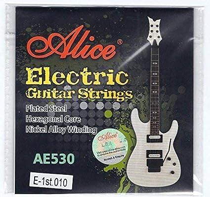Alice 5X Cuerdas Guitarra Eléctrica Individual Cuerdas 10 Calibre Regular Top E Primeros Acero Liso