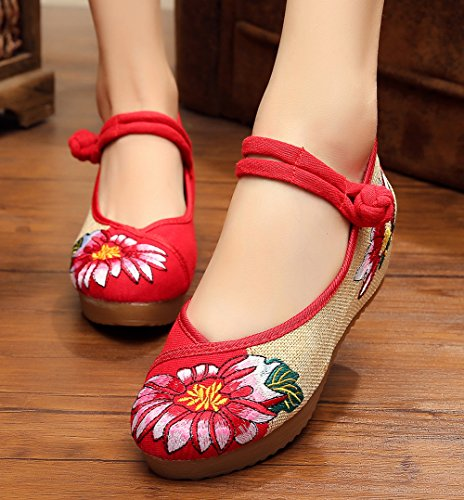 ezshe Multicolor Lotus bordado Mary Jane Cuñas Sandalias Zapatos Rojo
