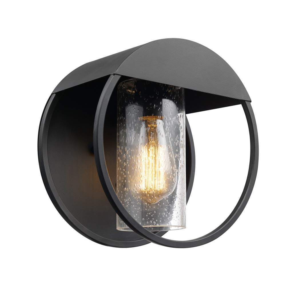 Globe Electric Neruda Outdoor Indoor Wall Sconce, Matte Black, Seeded Glass Shade 44335