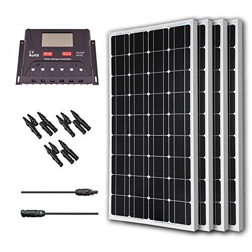 Renogy 400 Watt 12 Volt Monocrystalline Solar Bundle Kit with 30A PWM Controller - LCD Display by Renogy
