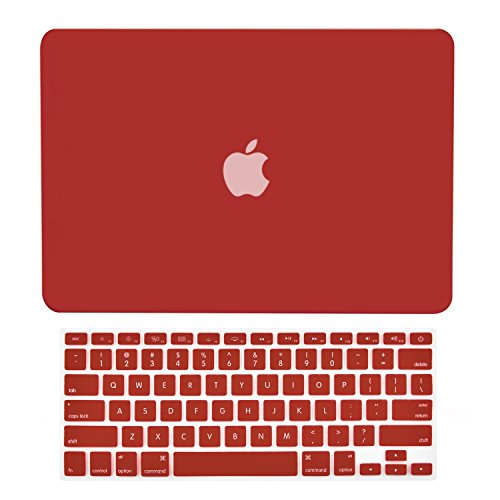 TOP CASE - 2 in 1 Rubberized Hard Case and Keyboard Cover Compatible with Apple Old Generation MacBook Pro 13 with DVD Drive/CD-ROM - NOT Compatible with MacBook Pro 13 Retina - Wine Red