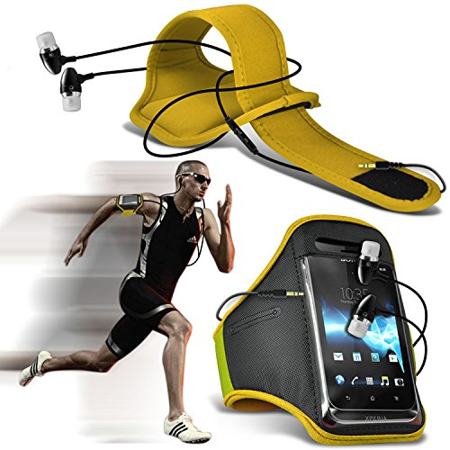 ( Yellow ) Dell Aero Sports Running Jogging Ridding Bike Cycling Gym Arm Band Case Pouch Cover & In Ear Earbud Stereo Hands Free Earphone By ONX3® (Aero Sport Armband Case)