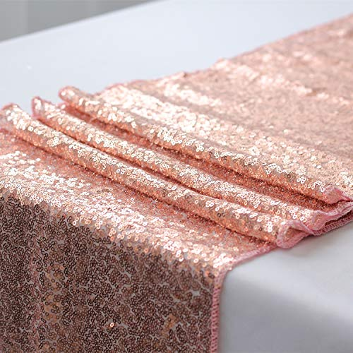 PRAVIVE Glitzy Sequin Table Runner - Quality Sparking Sequins Table Runners for Events Christmas/Party/Birthday/Wedding/Banquet Decoration, 12 x 108 inches, Rose Gold ()