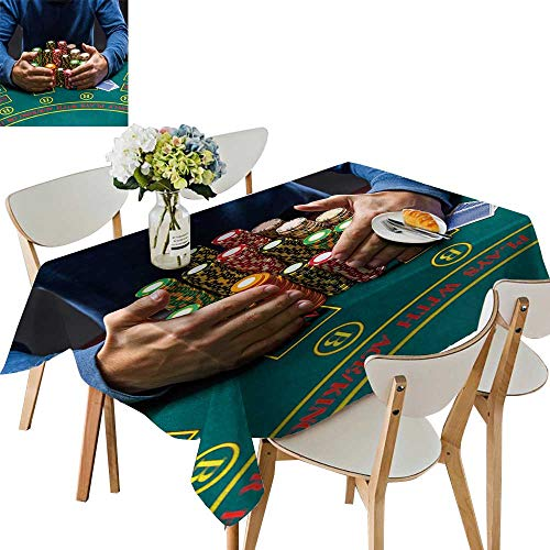 UHOO2018 Polyester Fabric Tablecloth Square/Rectangle Poker plaayer tak Poker Chips After Winn Summer & Outdoor Picnics,50 x105inch