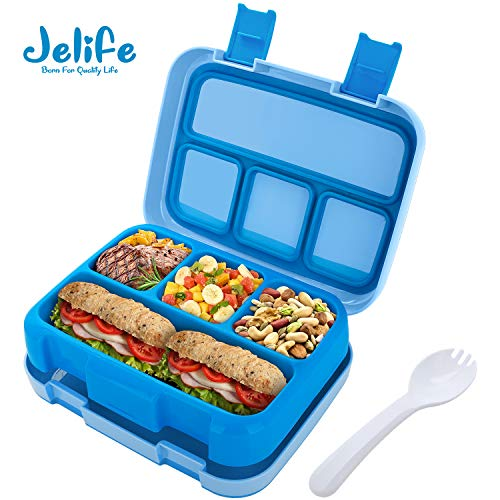 Frosted Blue for Children Adults Kids Leakproof 4 Compartment Kids Lunch Box nfm Style for Meal and Snack Teens Kids Bento Box Lunch Box