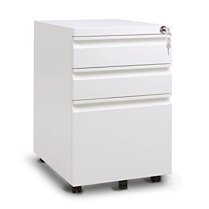 Exceptional DEVAISE 3 Drawer Mobile Metal File Cabinet With Lock (New Style  White)
