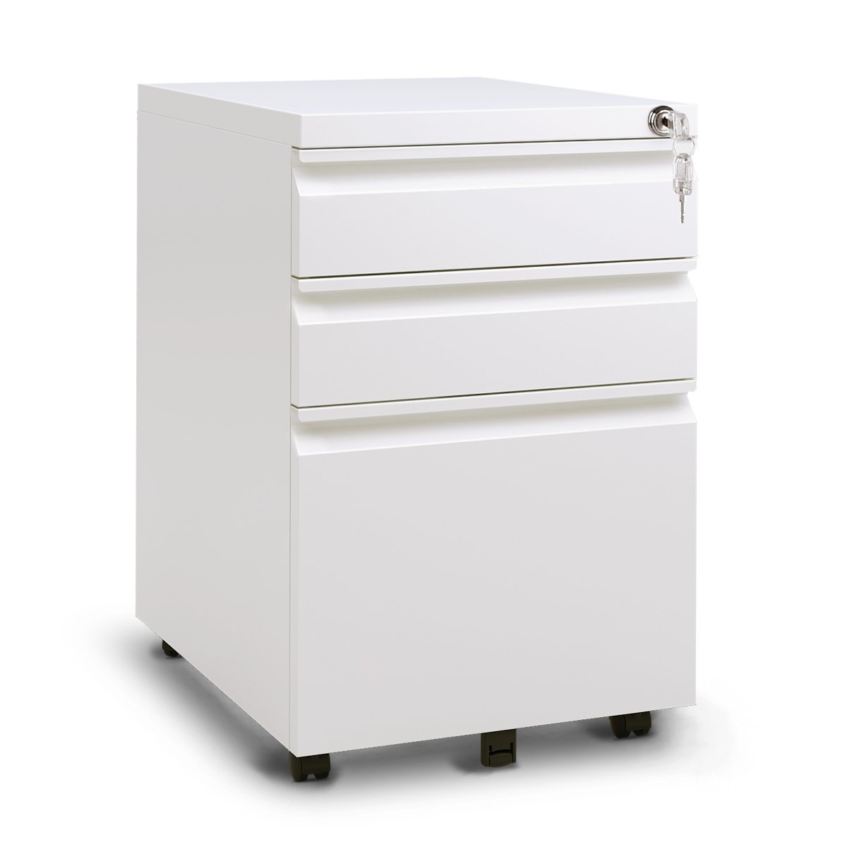 DEVAISE 3 Drawer Metal File Cabinet with Lock in White/Black(15.4'' W x 19.7'' D x 23.6'' H)(New Style-White)