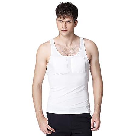 Lu Hombre Músculo Falso Tops Pecho Elástico Respirable ...
