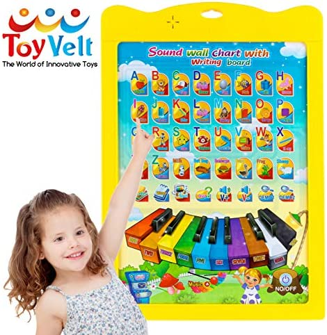 ToyVelt Interactive ABC Learning for Preschool - Talking ABC & 123Music Plus A Doodle Board on The Flip Side - Educational Toys for 3 4567 Years Old Kids Boys & Girls