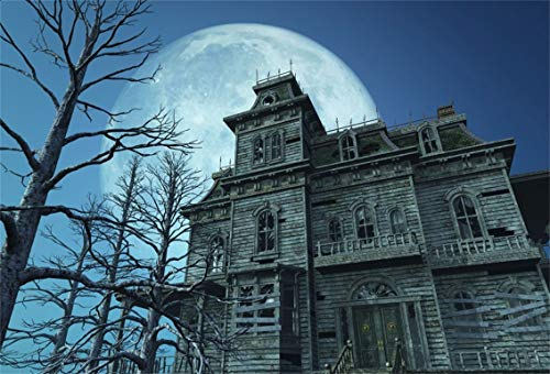Leyiyi 10x6.5ft Gothic Halloween Backdrop Vintage Abandoned House Old Wooden Building Ghost Room Full Moon Night Bare Tree Photography Background Costume Carnival Photo Studio Prop Vinyl Banner