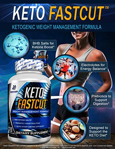 KETO FASTCUT Powerful Keto Diet Pills to Cut Fat Fast – BHB Science-Based Formula 120 Blue Capsules – Autophagy Fasting Formula