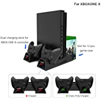 Xbox One Vertical Cooling Stand, Womdee Dual Controller Charging Docking Station for Xbox One/Xbox One S/Xbox One X Cooler Cooling Fan with 2Pack 600mAh Battery 12 PCS Game Storage Case Slot