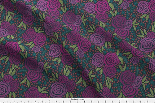 (Purple Roses Fabric - Floral Flower Garden Purple Modern Floral Spotted Pepper Bright Pink Fall Floral Midwestern by Hey There Louise Printed on Cotton Poplin Ultra Fabric by The Yard)
