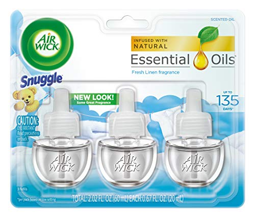 Air Wick plug in Scented Oil 3 Refills, Fresh Linen, (3x0.67oz), Same familiar smell of fresh laundry, New look, Packaging May Vary, Essential Oils, Air Freshener