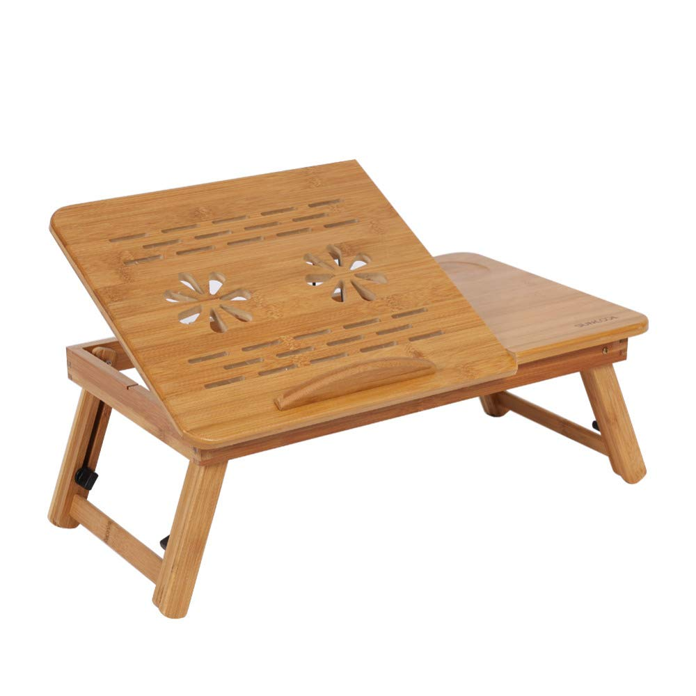 FDGBCF 1Pc Portable Bamboo Rack Shelf Dormitory Bed Lap Desk Book Reading Tray Bed Table for Computer Notebook Books