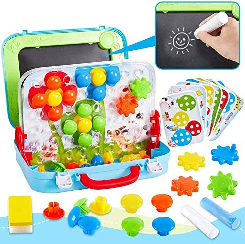 66枚の子供モザイクSteckspielと子供のための描画ボードのおもちゃ教育アートおもちゃ,ブルー
