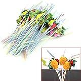 juice bar toys - Wrisky 50Pcs 3D Fruit Umbrella Summer Bar Decor Party Colorful Fruit Juice Cocktail Drink Straw