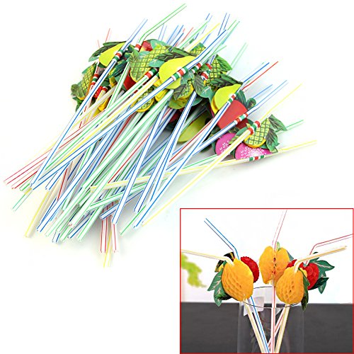 Wrisky 50Pcs 3D Fruit Umbrella Summer Bar Decor Party Colorful Fruit Juice Cocktail Drink Straw