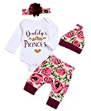 Baby Girls 4Pcs Daddy's Princess Gold Crown Print Romper Floral Pants Set Size 12-18 Months/Tag90 (White)